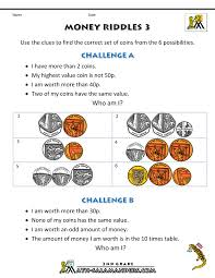money worksheets for kids money riddles uk