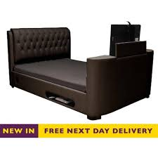 sale cosmo tv bed 5ft king size brown faux leather discount