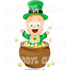 vector clip art of a leprechaun baby playing in a pot of gold on