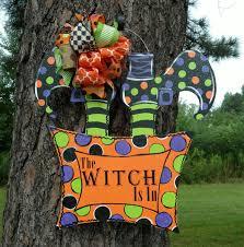 Halloween Picks For Wreaths by Halloween Door Hanger Halloween Wreath Halloween Witch Door