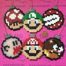 super mario christmas bauble set hama perler beads by zo zo tings
