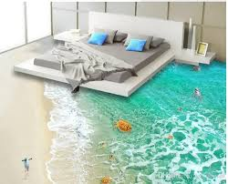 3d flooring custom pvc self adhesive wallpaper clear sea water