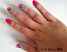manicure monday flamingo nail art see the world in pink