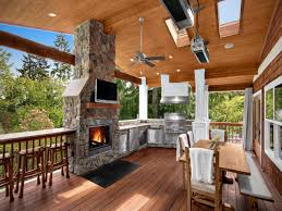 outdoor kitchen covered deck backyard covered patio with