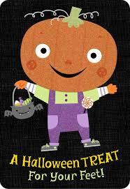 glow in the dark pumpkin trick or treater halloween card