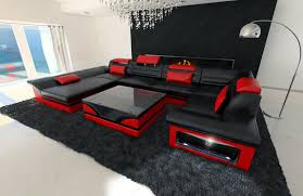sofa mit led leather sofa enzo u shaped set with led light black ebay