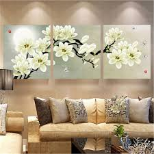 3pcs white orchid combination painting on canvas frameless drawing