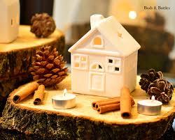 porcelain house tea light holder cottage buds and bottles