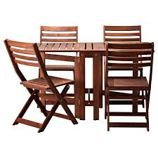 ikea outdoor table and chairs äpplarö table 4 folding chairs outdoor brown stained ikea