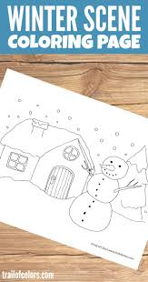 winter scene coloring page for kids trail of colors