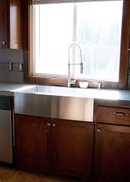 Brown Cabinet Kitchen Decor Using Stainless Farmhouse Sink For Dazzling Kitchen