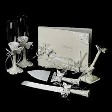 wedding guest book and pen set butterfly matching pen set flutes cake server set guest book