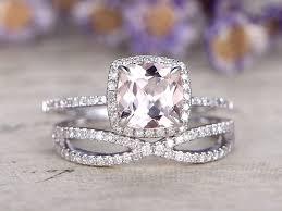 morganite bridal set morganite engagement ring white gold diamond bridal set 7mm
