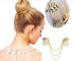 fashion golden fringe tassel metal chain layer leaf leaves hair 2