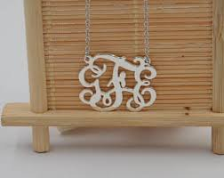 3 initial monogram necklace sterling silver 3 initial monogram necklace etsy