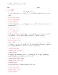Volume Of Rectangular Prism Worksheet 28 Density Calculations Worksheet 1 Answers Problems In