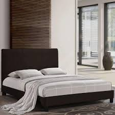 faux leather upholstered bed frame chocolate twin u2013 hart stores