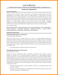 Logistic Coordinator Cv 8 Logistics Resume Childcare Resume