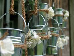 Tin Buckets For Centerpieces by Decorating Silver Galvanized Buckets Made Of Metal With Handle