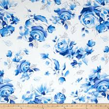 Large Floral Print Curtains Michael Miller Blue U0026 White Sharon Large Floral Azure From