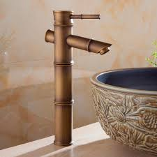 basin faucets antique bathroom sink taps bamboo brass waterfall
