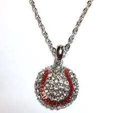 baseball jewelry rhinestone baseball necklace dph custom pins