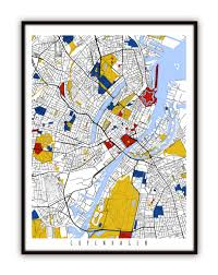 Copenhagen Map Copenhagen Map Art Copenhagen Denmark Wall Art Print