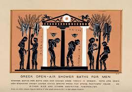 file greek open air shower baths for men gouache painting