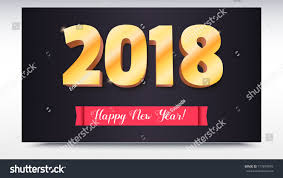 congratulation poster happy new year 2018 volumetric numbers stock vector 717874876