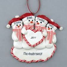 family of snowmen 4 personalized clay dough ornament i need