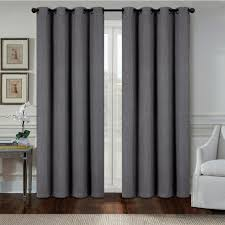 Heavy Grey Curtains Aspen 84 In Grey Polyester Heavy Blackout Wide Grommet