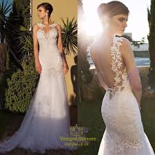 mermaid wedding dress ivory sheer lace embellished open back tulle mermaid wedding dress