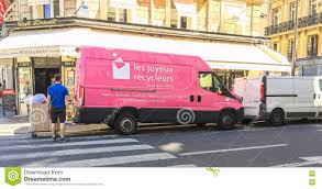 x au bureau pink recycling company truck in editorial stock photo