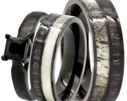 black wedding ring set wedding ring set etsy