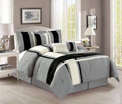 Microsuede Duvet Cover Queen 7 Piece Plush Microsuede Stripe Gray Ivory Black Comforter Set