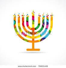 hanukkah candles colors hanukkah menorah emblem colored stock vector