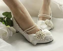 wide width wedding shoes 2015 new faux pearl bow low heel high heeled bridal shoes