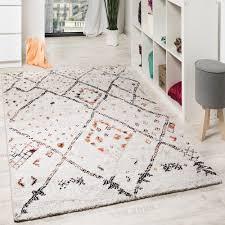 Designer Area Rugs Modern Teppich Nomade Karo Motive Creme Orange