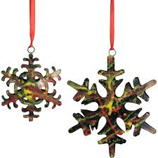 metal sponge painted snowflake ornaments from india fair trade