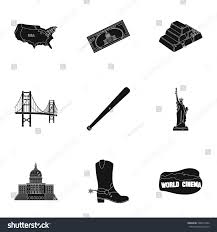 usa country set icons black style stock vector 568611004