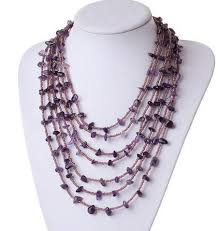amethyst necklace beads images Charming stetement necklace strands multi natural amethyst chips jpg
