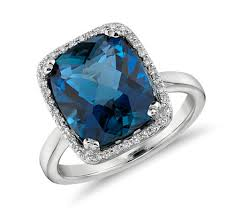 rings blue topaz images London blue topaz and diamond halo cushion cut ring in 14k white