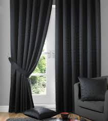 Heavy Grey Curtains Black Fully Lined Ready Made Curtains