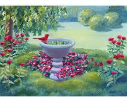 cardinal original oil painting garden bird bath handmade art