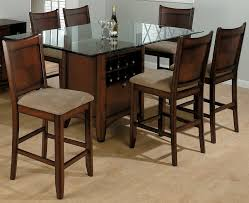 kitchen narrow glass top counter height pub table and two