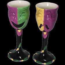 mardi gras gifts 2 comedy tragedy masquerade mask ceramic glasses mardi gras
