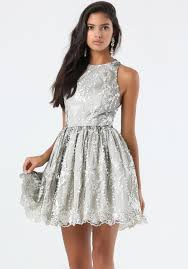 bebe embroidered tulle dress in gray lyst