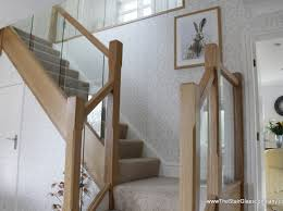 Oak Banister Toughened Glass Staircases Chrome Metal Iron Oak Staircase