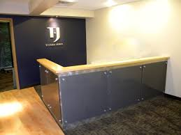 Grey Reception Desk Tremendous Teak Tabletop For L Shaped Grey Table By Contemporary