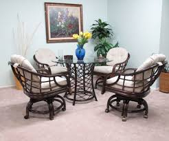 furniture dark brown wicker dining room chairs with casters and